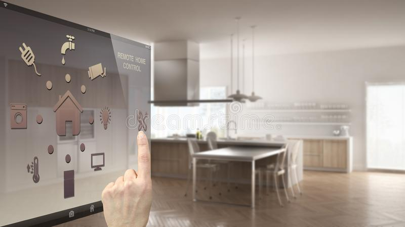 Smart home control concept, hand controlling digital interface from mobile app. Blurred background showing modern kitchen, archite vector illustration