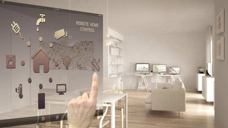 Smart home control concept, hand controlling digital interface from mobile app. Blurred background showing modern living room with. Home workplace, architecture stock images