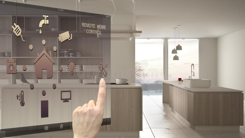 Smart home control concept, hand controlling digital interface from mobile app. Blurred background showing modern white and wooden vector illustration