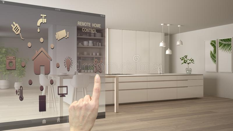 Smart home control concept, hand controlling digital interface from mobile app. Blurred background showing modern white and wooden. Modern kitchen, architecture stock illustration