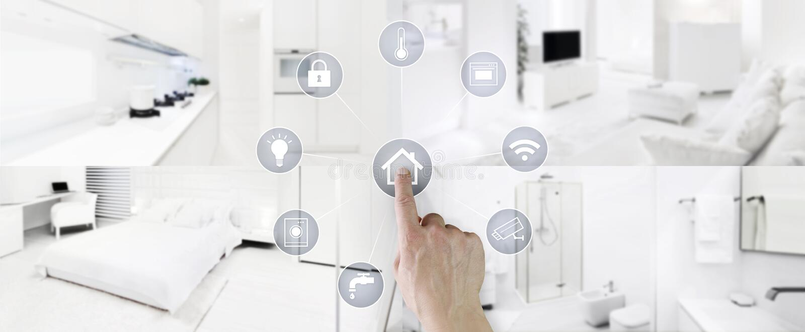 Smart home control concept hand touch icons screen with interiors, living room, kitchen, bedroom and bathroom on blurred. Smart home control concept hand icons royalty free stock photos