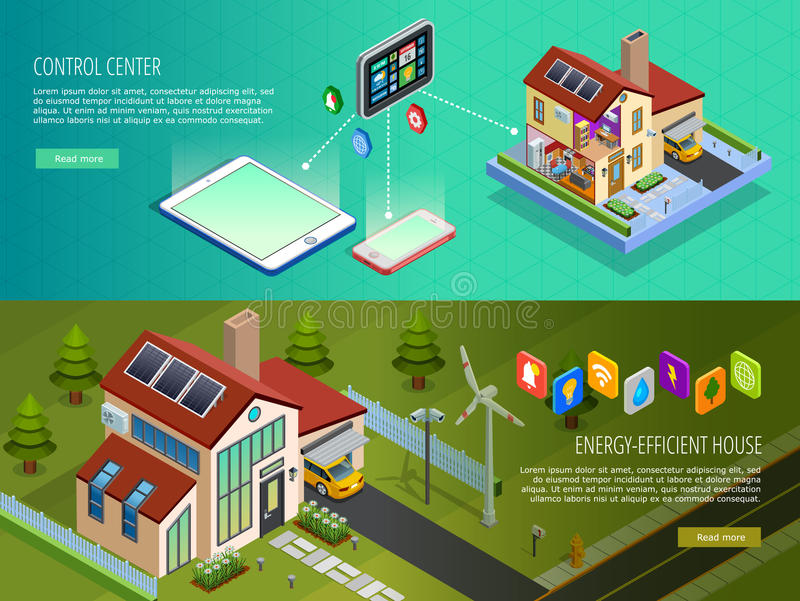 Smart Home Control 2 Isometric Banners stock illustration