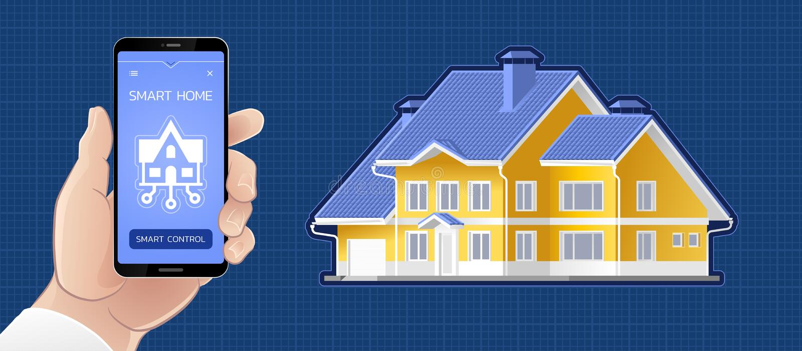 Smart Home Control By A Mobile App stock illustration