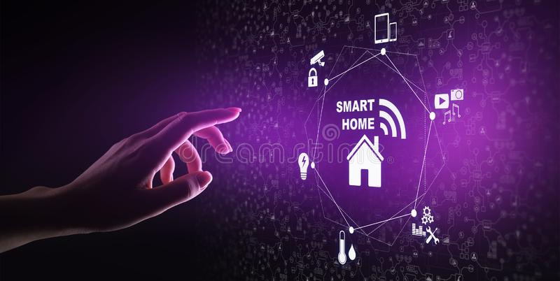 Smart home control panel on virtual screen. IOT and Automation technology concept. royalty free stock image