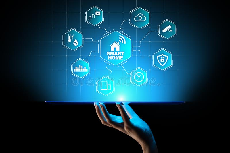 Smart home control panel on virtual screen. IOT and Automation technology concept. stock image
