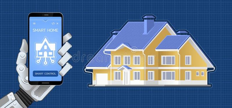 Smart Home Control via Mobile App stock illustration