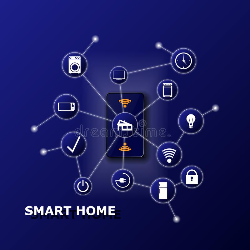 Smart home controlled smartphone. Internet of things technology of home automation system. Small house on screen mobile stock illustration