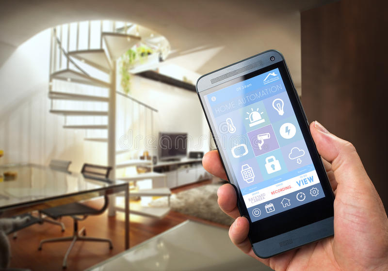 Smart Home Device - Home Control. Smart house, home automation, device with app icons. Man uses his smartphone with smarthome security app to unlock the door of