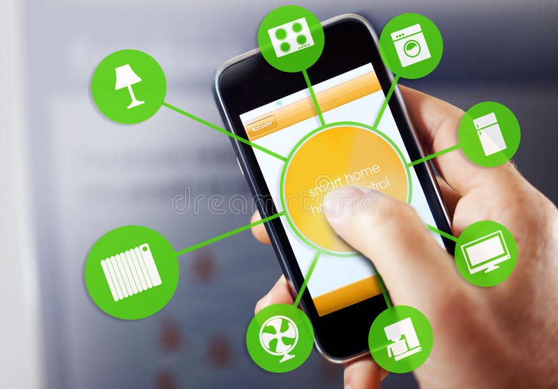 Smart Home Device - Home Control. Smart house device illustration with app icons