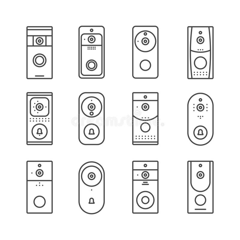 Smart home devices, Internet of Things set. Remote doorbell rings, appliances for house or office. Thin line art icons. Linear style illustrations. Vector flat vector illustration