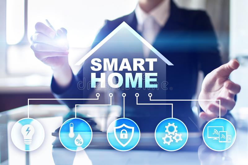 Smart home digital interface on virtual screen. Internet and automation technology concept. royalty free stock photography