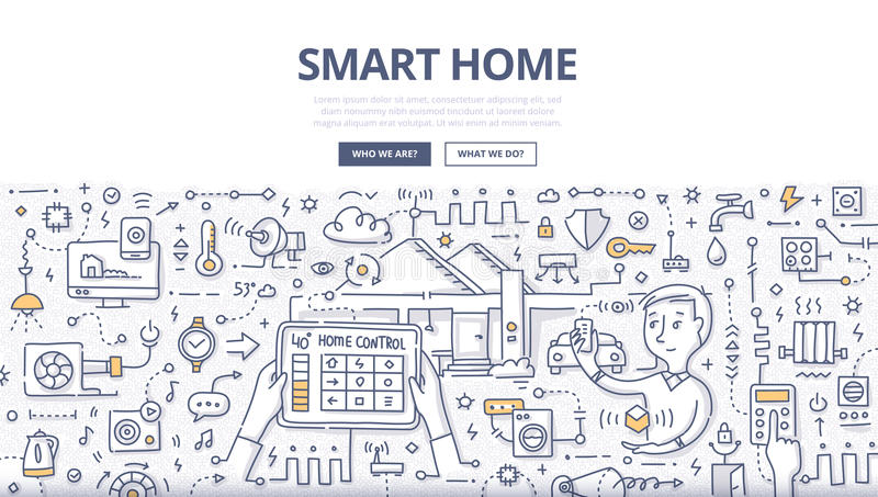 Smart Home Doodle Concept. Doodle illustration of using modern technologies into house infrastructure, home remote control & automation. Smart home concept for royalty free illustration
