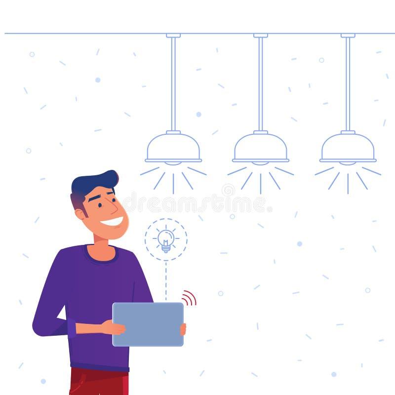 Smart home energy management system concept. stock illustration