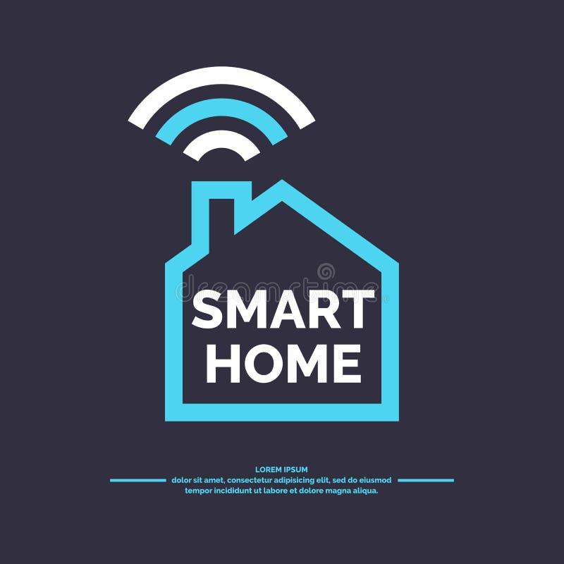 Smart home icon. Emblem sign Wi-Fi. Vector illustration stock illustration