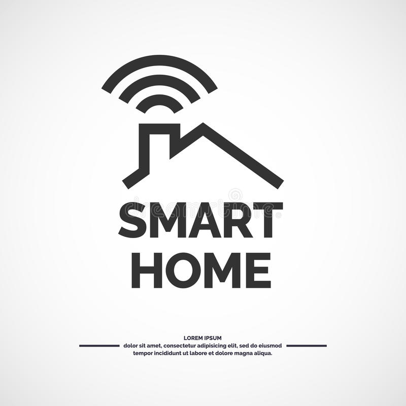 Smart home icon. Emblem sign Wi-Fi. Vector illustration royalty free illustration