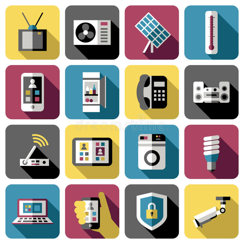 smart home icon set stock vector image of guide house 74969535. Black Bedroom Furniture Sets. Home Design Ideas