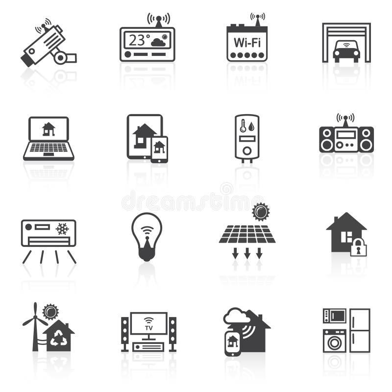 Smart home icons black stock illustration