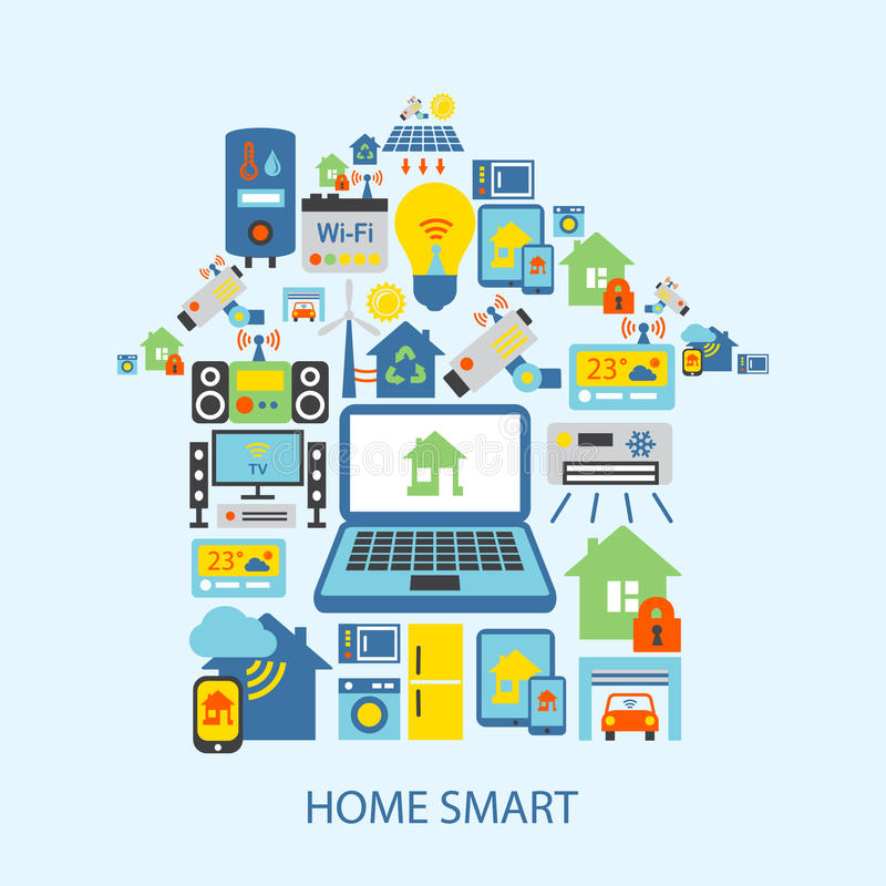 Smart home icons set royalty free illustration