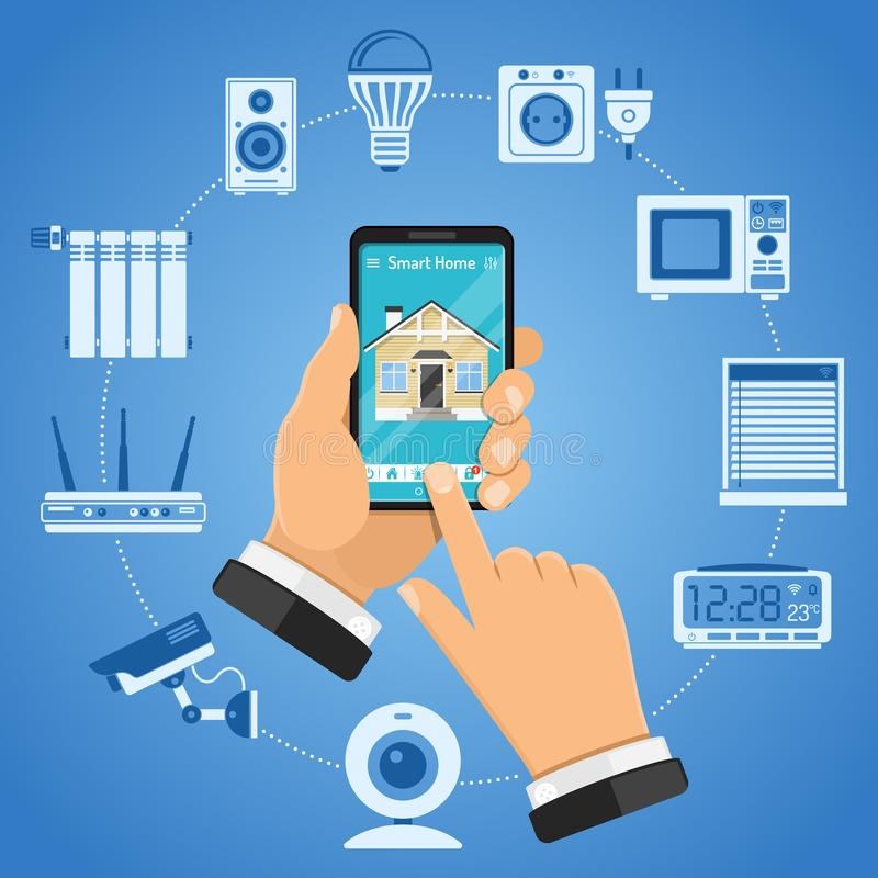 Smart Home and Internet of Things. Concept with flat icons. Man holding smartphone in hand and controls smart home devices like security camera, router stock illustration