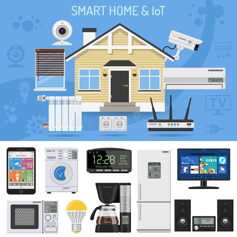 Smart Home and Internet of Things. Concept. Smartphone controls smart house like security cam, lighting, air conditioning and music center. Flat style icons royalty free illustration