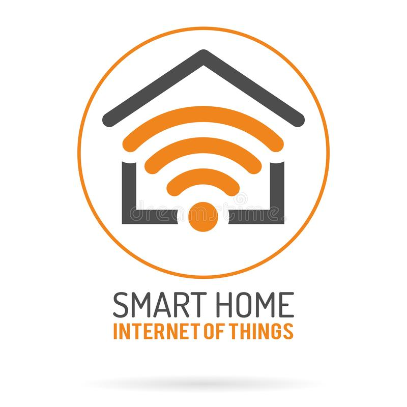 Smart Home and Internet of Things Logo. Smart House with WiFi Logotype. Flat style icons. Isolated Vector Illustration vector illustration