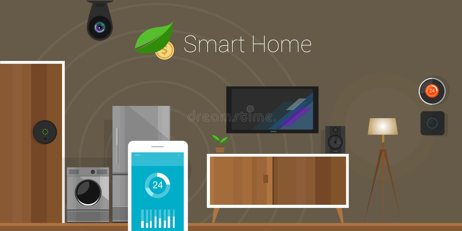 Smart Home Internet of Things. Smart Home that show how internet of thing can connecting devices in house, items such as lamp, temperature, door lock, fire alarm vector illustration