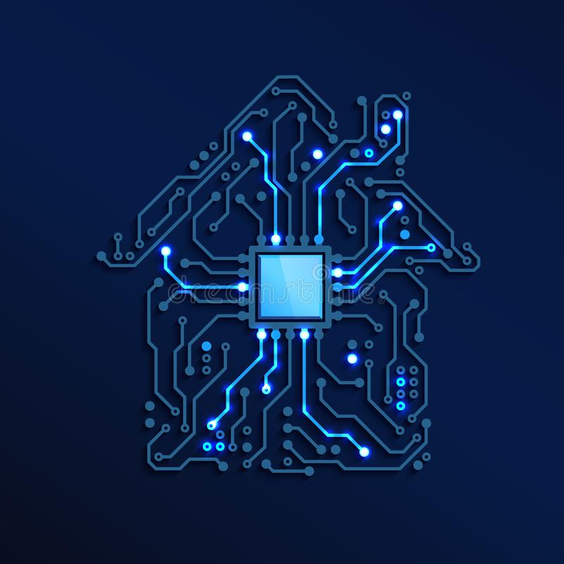 Smart Home or IOT Concept. Blue Circuit House with CPU inside. Future and Innovation Technology Background. Vector Illustration royalty free illustration