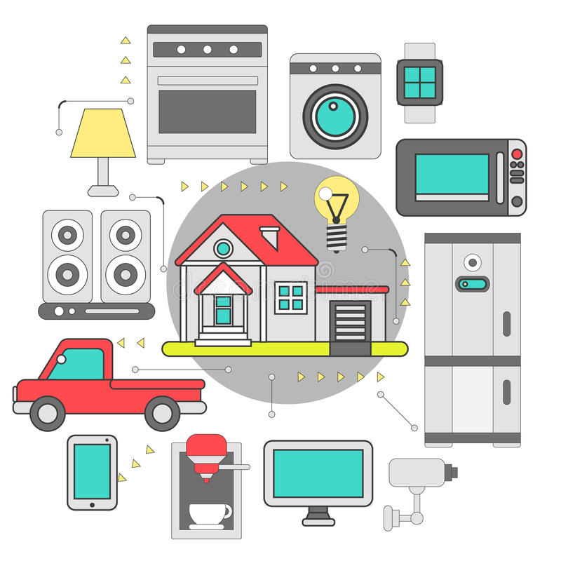 Smart home iot internet of thing stock illustration