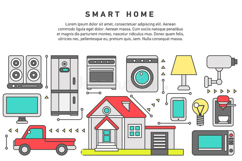 Smart home iot internet of thing. S control comfort and security, automation system, smart house climate control panel on mobile device. Flat design graphic hero royalty free illustration