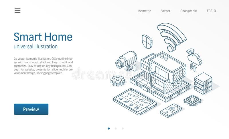 Smart Home isometric line illustration. Technology house, control cctv network, modern architecture building business. Sketch drawn icons. Abstract 3d vector stock illustration