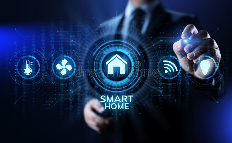 Smart home life process automation IOT internet of things concept on screen. royalty free stock photography