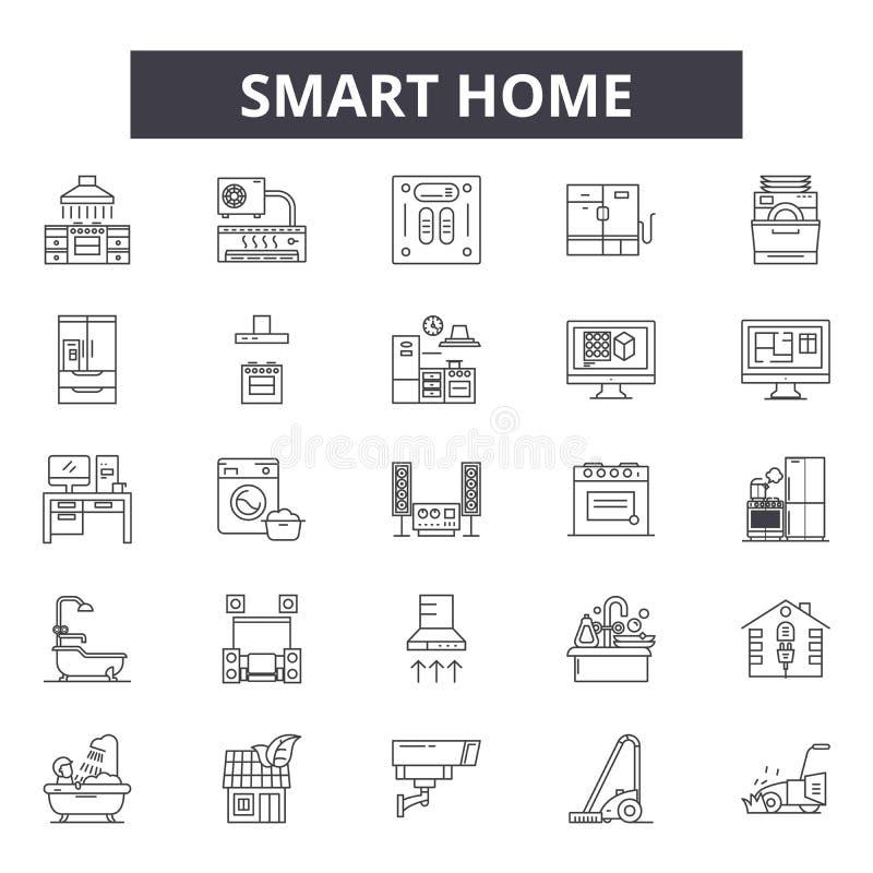 Smart home line icons, signs, vector set, outline illustration concept royalty free illustration