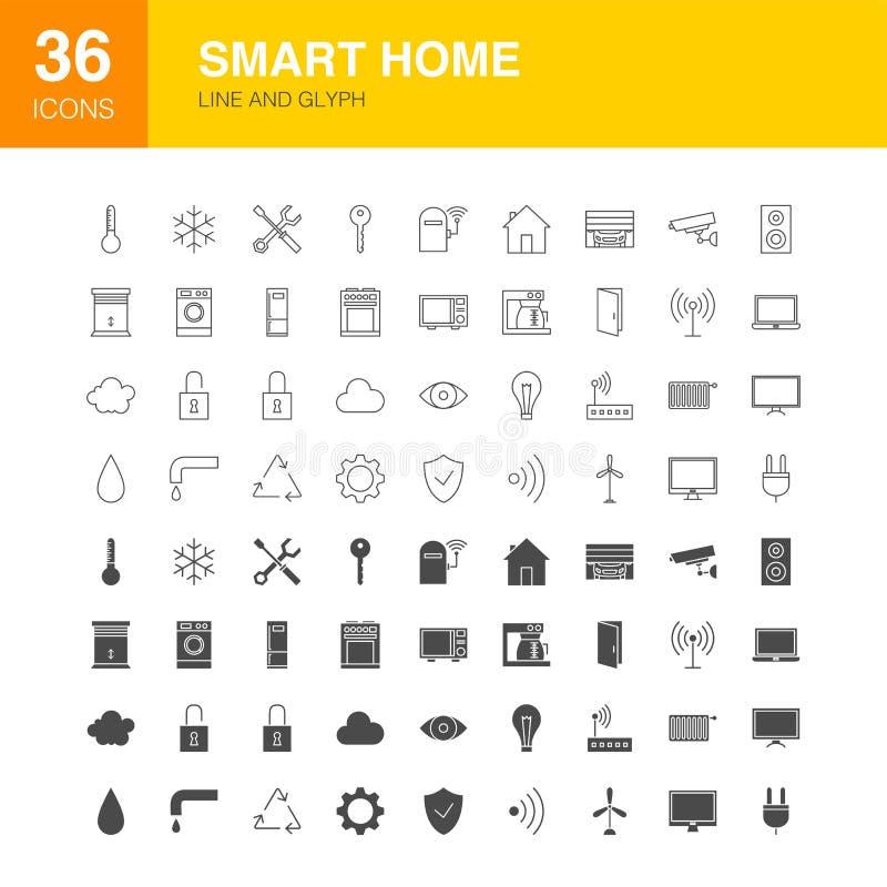 Smart Home-Linie Netz Glyph-Ikonen stock abbildung