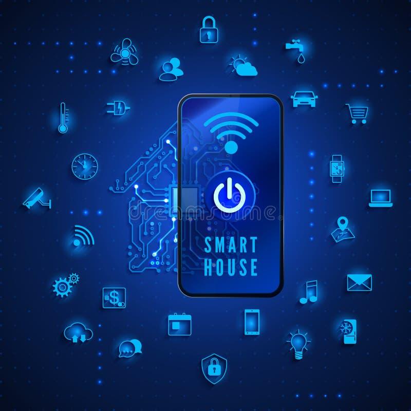 Smart Home o concetto di IOT Casa intelligente a distanza di controllo dallo smartphone Circuito della Camera ed icone domestiche royalty illustrazione gratis