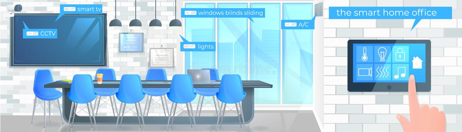 Smart home office banner. Modern conference room with a control screen and hand vector illustration