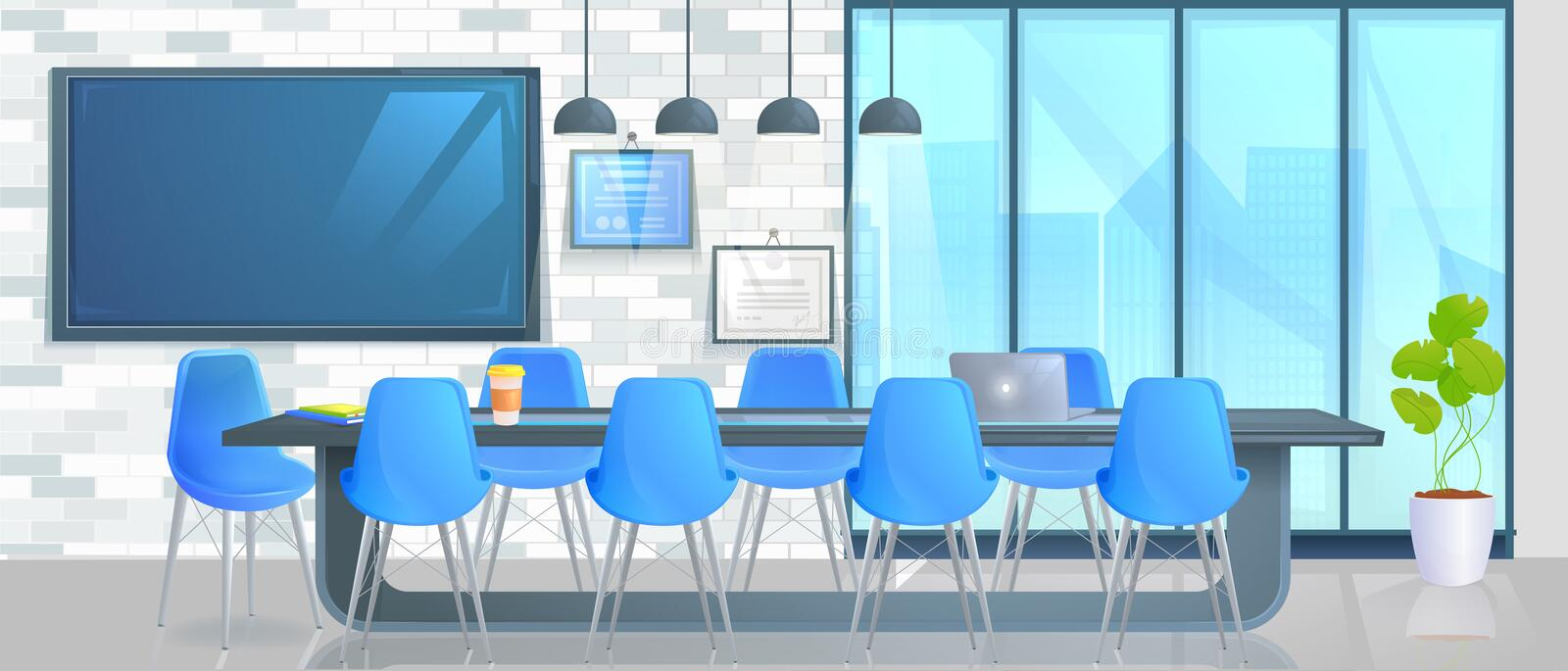 Smart home office banner. Modern conference room with a control screen and hand. Vector cartoon illustration stock illustration