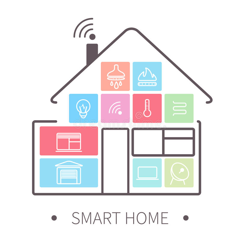 Smart Home Outline Icon Stock Vector. Illustration Of Estate   51702755