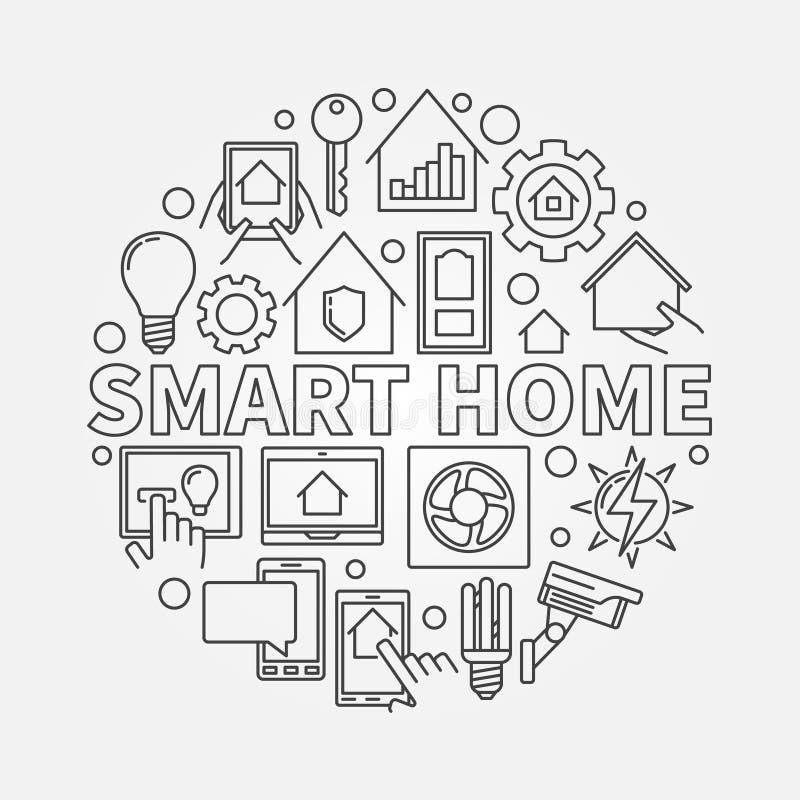 Smart home outline illustration royalty free illustration