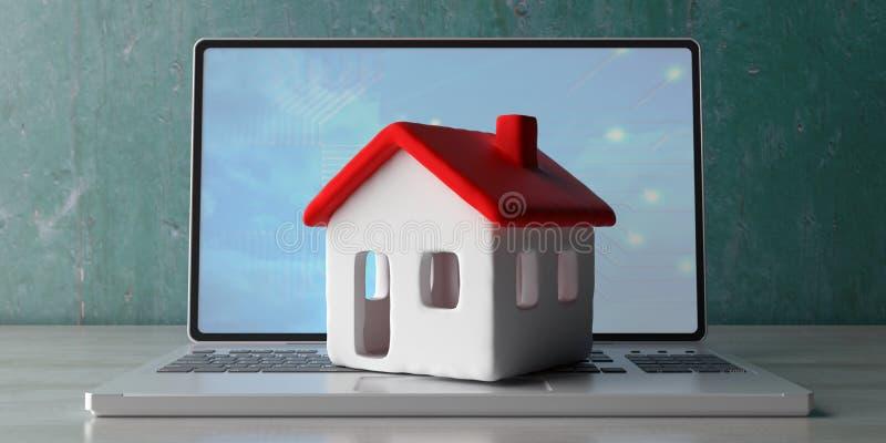 House model on a computer laptop, wooden office desk. 3d illustration vector illustration