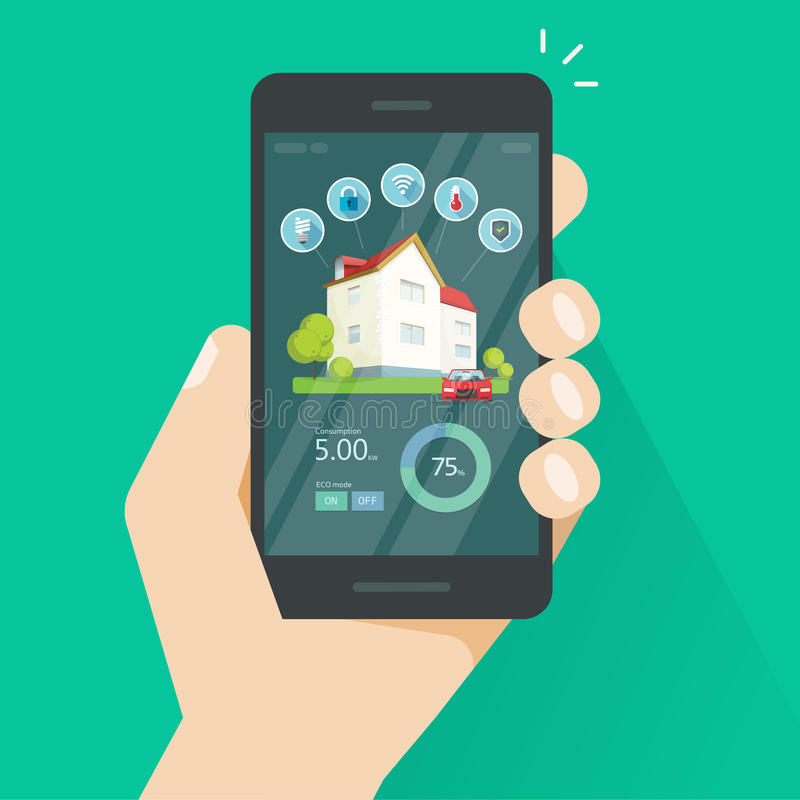 Smart home remote control on mobile phone vector, smartphone with house innovation technology wireless automation stock illustration