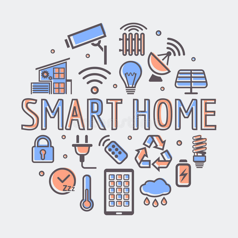 Smart Home round illustration, creative technology symbol or web design template stock illustration