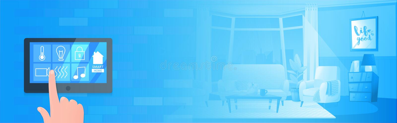 Smart home technology banner. Digital screen on wall. Vector cartoon illustration. Smart home technology banner. Digital screen on wall vector illustration