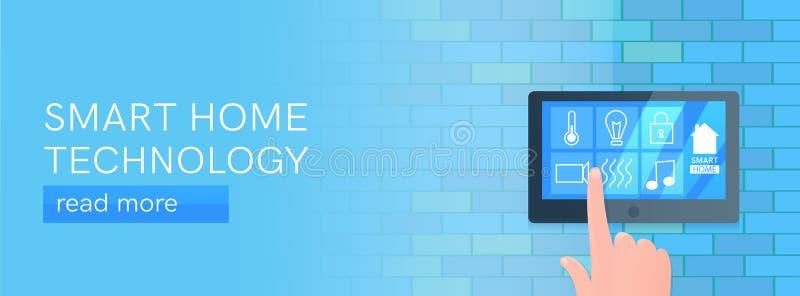 Smart home technology banner. Digital screen on wall. Vector cartoon illustration. Smart home technology banner. Digital screen on wall stock illustration