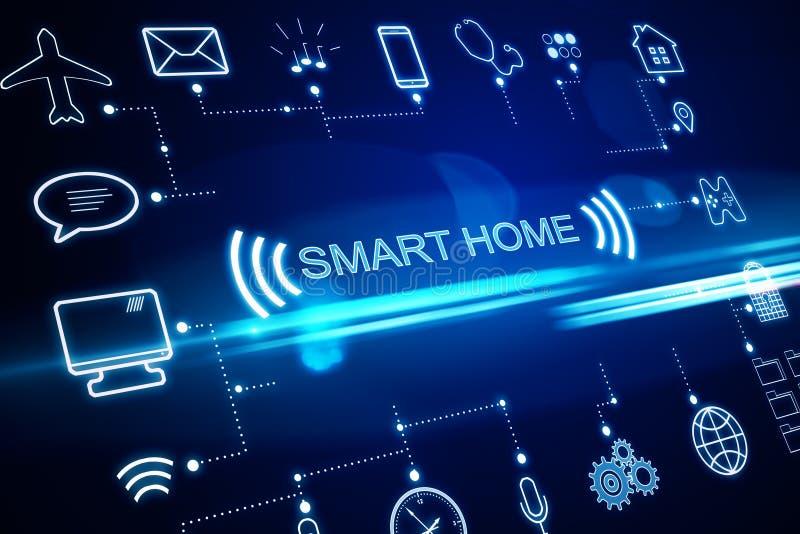 Smart home technology system. Concept of smart home technology system with centralized control. 3D Rendering stock illustration