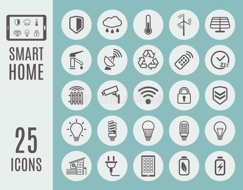 Smart home thin line icon set. Automation control systems. Vector illustration royalty free illustration