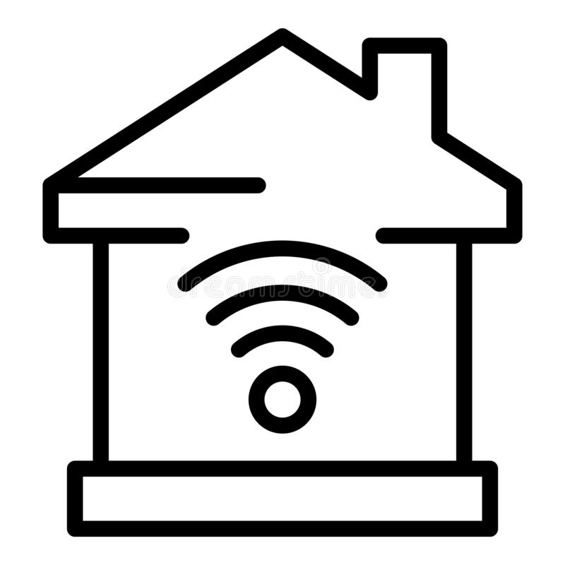 Smart home wifi icon, outline style stock illustration