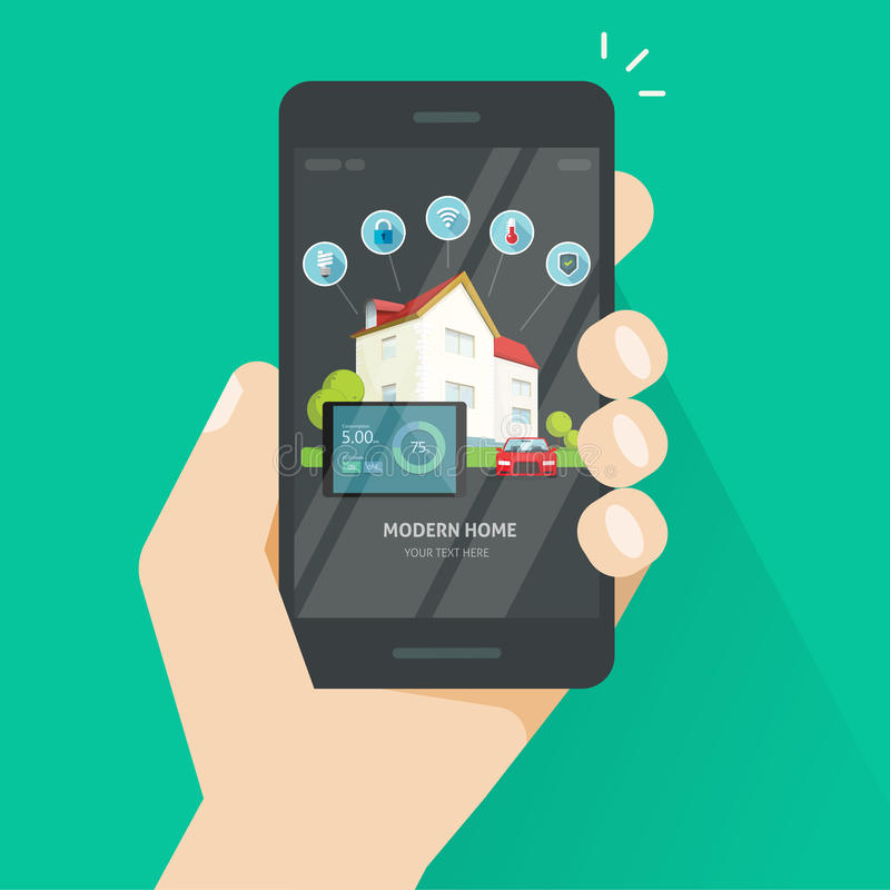 Smart home wireless control technology via smartphone app vector, mobile phone controlling smart house energy stock illustration