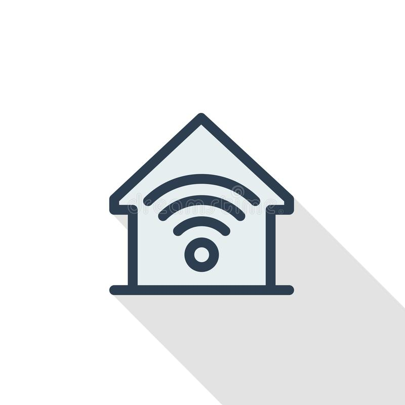 Smart home, wireless technology, digital house thin line flat icon. Linear vector symbol colorful long shadow design. Smart home, wireless technology, digital royalty free illustration