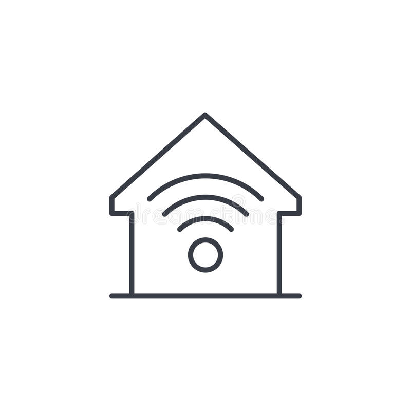 Smart home, wireless technology, digital house thin line icon. Linear vector symbol. Smart home, wireless technology, digital house thin line icon. Linear vector royalty free illustration