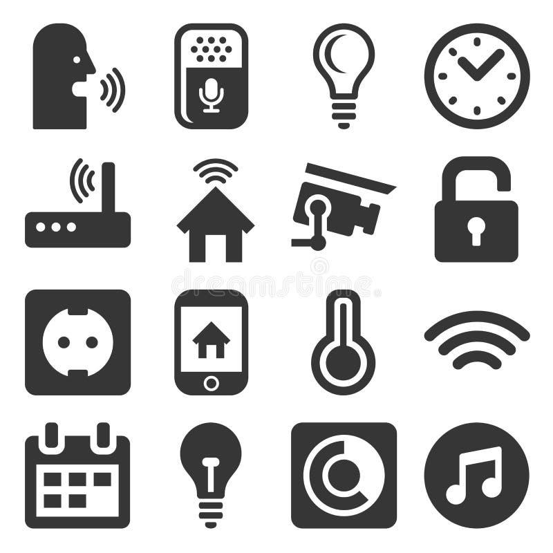 Smart Home y sistema de los iconos del control de la voz Vector stock de ilustración